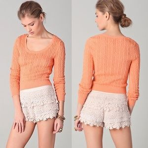 Free People Peach Cable Guy Cropped Sweater